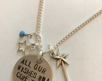 "Disney World Fireworks Inspired Hand-Stamped Necklace - ""All Our Wishes Will Come True"""