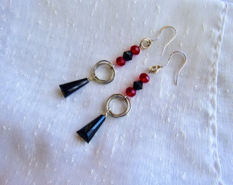 Red and Black Chainmaille Rosette Earrings