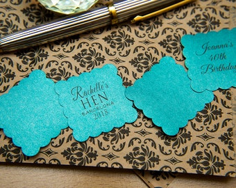 "150 Teal Pearlised 1.5 inch Square Shiny Stickers, Envelope Seals. Custom Blue Stickers. 1.5"" Save the date stickers. Invitation Seals."