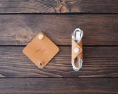 Personalized Leather Cord holder. iPhone cable organizer. Handmade. 2 pcs