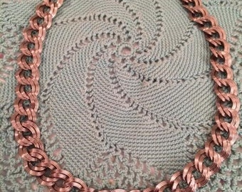 Vintage Retro Silver Monet Double Link Rope Chain Necklace