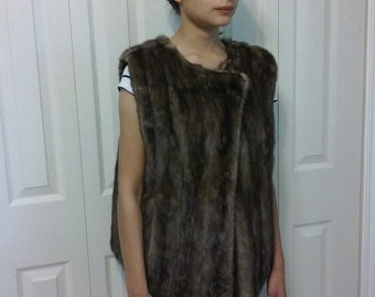 "New handmade brown mink vest, medium, recycled mink, real fur, timeless,chest 42"", reclaim mink,"
