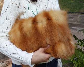 New handmade red fox fur clutch bag, real fur, recycled, handbag, evening bag, unique
