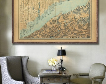 "1862 Johnson's Atlas Mountains and Rivers Graph, Vintage geographical reprint - 4 large/XL sizes up to 54"" x 36"""
