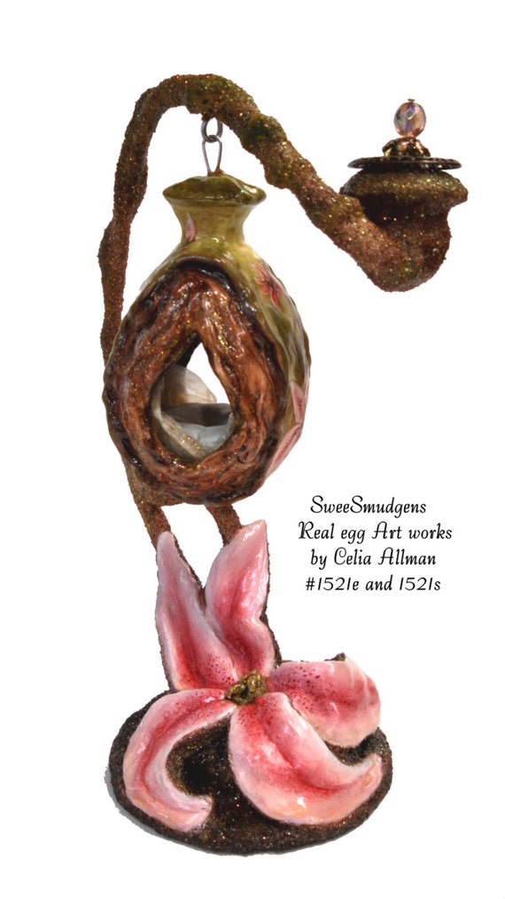 Hand painted tiger lilies real egg art works sculptured burl lantern eggshell hand carved whimsical miniature day swing pink green brown