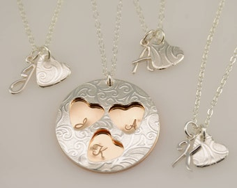 Mother daughters necklace set. Mother and 4 daughters, Mother and 3 daughters, Mother and 2 daughters, Mother and 1 daughter