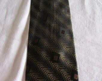 Vintage Stefano Conti Italy Men's Neck Tie - Gold, Brown and Black - Vintage Silk Tie - 90s Neck Tie
