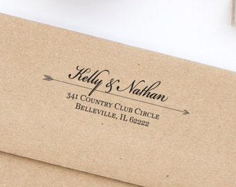 Custom Return Address Arrow Stamp, Return Address Stamp, Wedding Stamp, Self-Inking Address Stamp, Personalized Address Stamp,  Style No. 2