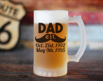 Dad Beer Glass, Custom Dad Beer Glass, Dad Beer Glass, Dad Established, Custom Fathers Day Gift, Fathers Day Gift