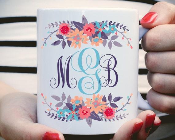 Custom Monogram Mug, Floral Monogram Mug, Personalized Coffee Mug, Initials Mug, Personalized Gift, Southern Monogram, Monogrammed Mug, Mug