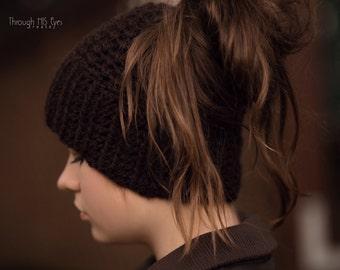 Hat with Hair Hole- Messy Bun Beanie- Messy Bun Hat- Cap with Hair Hole- Crochet Hat - Crochet Cap- Beanie for long hair- Bohemian Hipster
