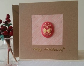 Anniversary Card with Swans for Wife, Girlfriend, Fiancee : Unique Handmade Card for 1st 2nd 3rd 4th 5th 6th 7th 8th 9th 10th 11th 12th