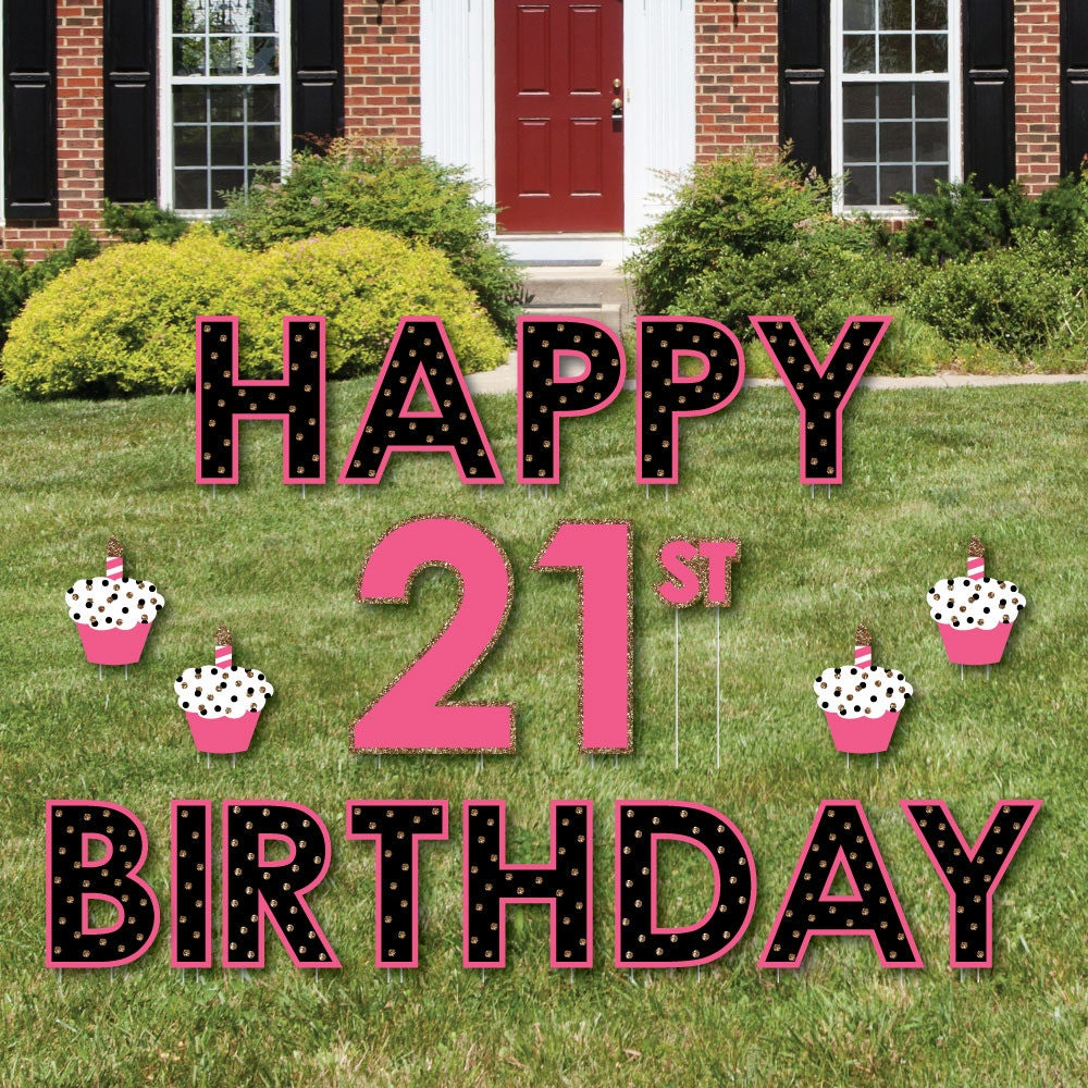 21st birthday party yard sign finally 21 outdoor lawn