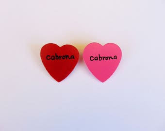 Cabrona heart pin (cabrona lapel, wood heart pin)