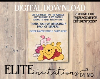 Winnie the Pooh Diaper Raffle Sign - Just throw in a frame!