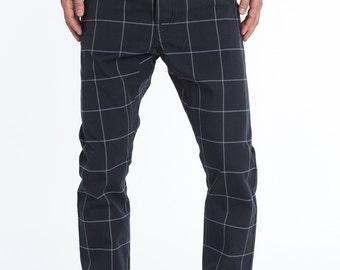 Tartan Pants For Men - Loose Pants -Checkered Pants - White And Blue Pants - JOE-SS17-1