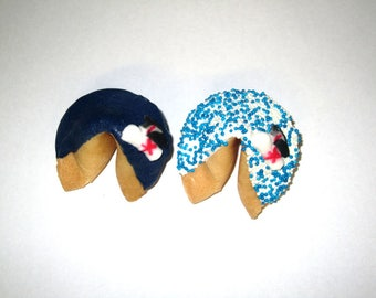 50 GRADUATION Blue & White Fortune Cookies, Achievement, Cap and Scroll, Congratulations Gift