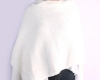 Wedding shawl, knit shawl, oversized scarf, bridal wrap, wedding cover up, white shawl, winter shawl, knit wrap, white lace shawl