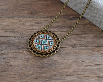 Cross stitch necklace, Emerald mint firebrick embroidered pendant, Embroidered jewelry, Cross stitch jewelry, Textile geometric necklace