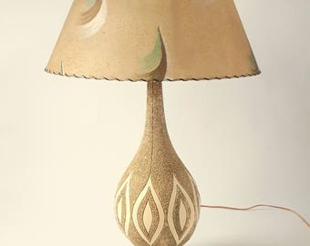 36 in. HUGE TABLE LAMP with original shade and finial , 1970s