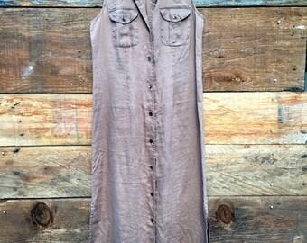 Vintage 90s Nut Brown Linen Dress Size- 6 Medium