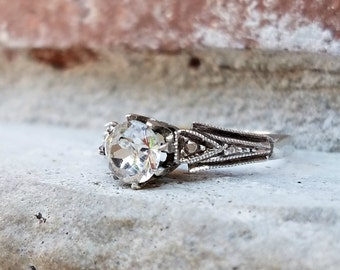 Antique Art Deco Paste Engagement Ring in 9k Gold & Silver | Vintage Engagement Ring Alternative