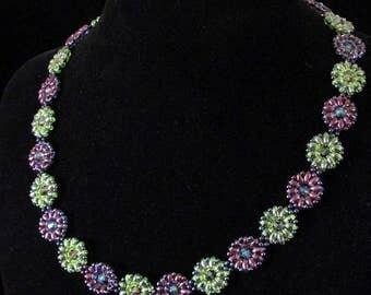 Green & Purple Daisy Chain Necklace