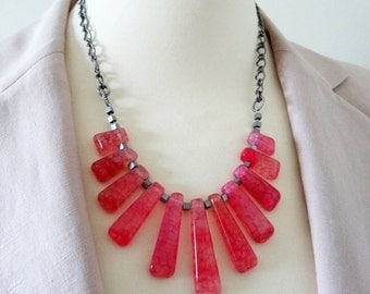 Pink Necklace, Gemstone Necklace, Graduated Necklace, Jasper Necklace, Agate Necklace, Bib Necklace, Statement Necklace, Dragon Veined Beads