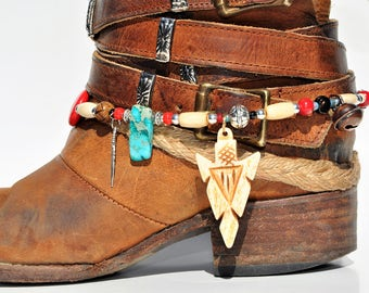 Carved Bone Arrowhead Beaded Boot Bracelet