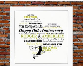 Personalized 16th Anniversary gift -16 years anniversary, 16 year wedding anniversary gift, 16th wedding anniversary gift, 16th anniversary