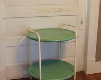 SOLD - Metal Vintage Indoor/Outdoor Side Table in Teal & White