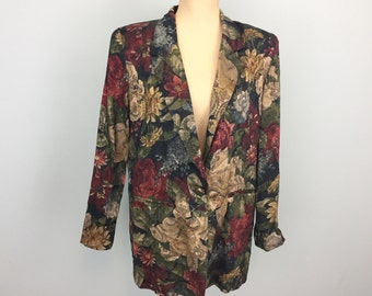 80s 90s Oversized Jacket Boyfriend Black Floral Jacket Womens Tapestry Boxy Slouchy Womens Blazer Black Red Tan Small Medium Womens Clothing