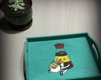 Hand painted tray sushi and soy