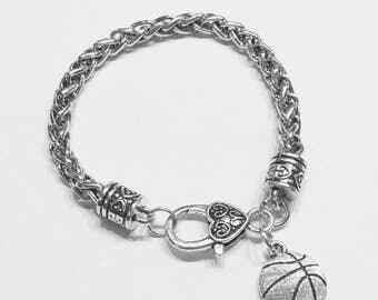 Basketball Charm Bracelet, Sports Mom Charm Bracelet