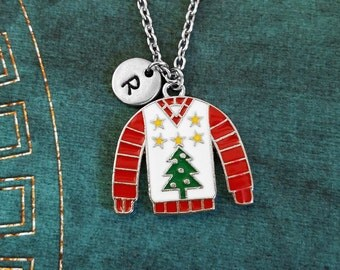 Sweater Necklace Sweater Jewelry Ugly Christmas Sweater Charm Necklace Christmas Necklace Christmas Jewelry Red and Green Christmas Tree