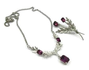 VD Van Dell 925 Sterling Silver Purple Rhinestone Necklace Brooch Pin Set Vintage Jewelry Designer Signed Purple Amethyst Color Gift Ideas
