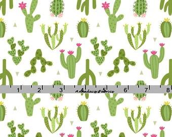 Cactus Fabric, Lewis & Irene Paracas A202 2, Green Cactus Quilt Fabric, Desert Fabric, Cotton Yardage