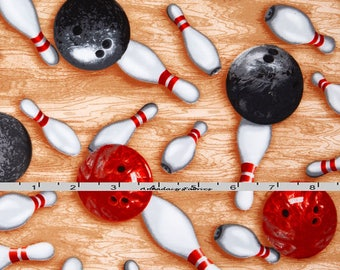 Bowling Fabric, Red and Black Bowling Ball Quilt Fabric, Sports Life 4 Robert Kaufman 15657 Studio RK, Sports Fabric, Quilting Cotton