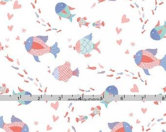 Fish Fabric, Studio E Mermaid Dreams 3755 52, Lucy Crovatto, Coral, Blue, Aqua, Fish Quilt Fabric, Nautical, Ocean,  Beach Fabric, Cotton