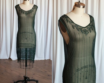 Nuit de Foret dress | vintage 20s dress | 1920s sheer beaded dress | forest green beaded chiffon 20s dress | 1920s flapper party holiday