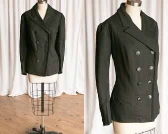 Guardine jacket | vintage 1910s jacket | 1910s black wool jacket | National Coat & Suit Co. | black Edwardian coat | 1910s titanic era