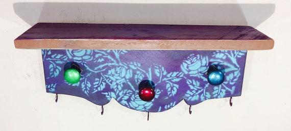 Reclaimed wood shelving /wall hanging shelf /floating accent shelves jewelry storage stenciled roses Aubergine 6 hooks 3 hand-painted knobs