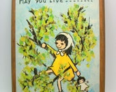 Vintage 60s Flavia Wood Plaque Wall Hanging - May You Live All the Days of Your Life