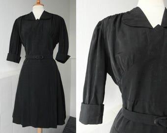 Lovely Black 40s Vintage Dress // Hand Made