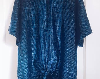 Vintage 80s Oversized Metallic/Glitter Blue Tie Front Top