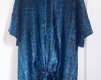 Vintage 80s Oversized Metallic/Glitter Blue Tie Front Top