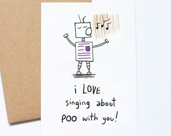 Funny Father's Day Card, Poo Songs, Funny Card for Dad, Card From Child, From Kids, Mom Birthday Card, Cute Parent Card, Mother's Day Card