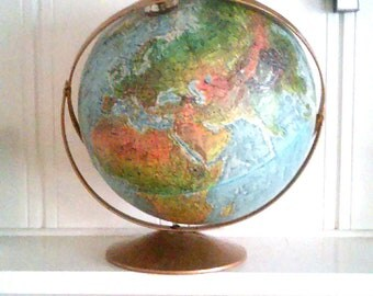 Vintage Replogle Land & Sea Tilt Axis Metal Bas Globe / Home And Office Decor / Learning Tools / Geography / 12 Inch Diameter Globe