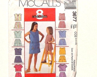 McCall's Children's Tops & Skorts Sewing Pattern #3677 - UNCUT - Sizes 3+4+5+6 (Breast 22+23+24+25)