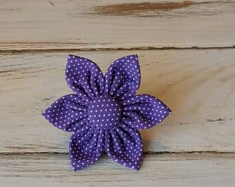 Purple Pin Dot Flower for Dog collar, Cat collar, collar flower, pet collar flower, wedding flower, flowers for dog collars